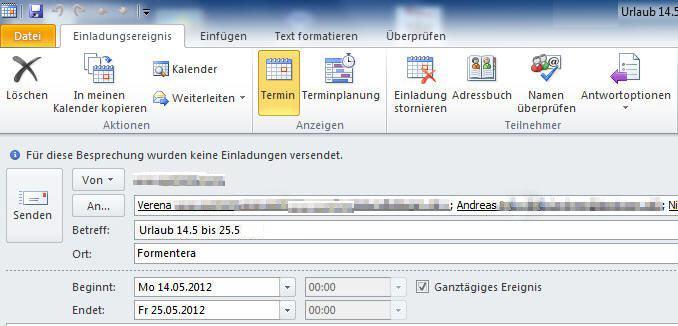 Urlaubsplanung mit Outlook Screenshot Schritt 2
