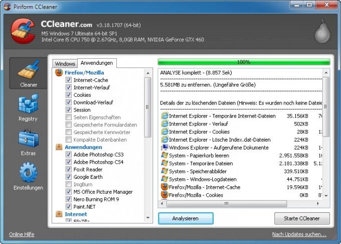 CC Analyse: Genaue Aufstellung der Dateien, die CCleaner löschen will.