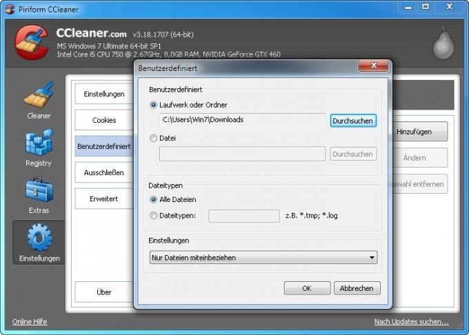 Mit CCleaner bestimmte Ordner automatisch leeren