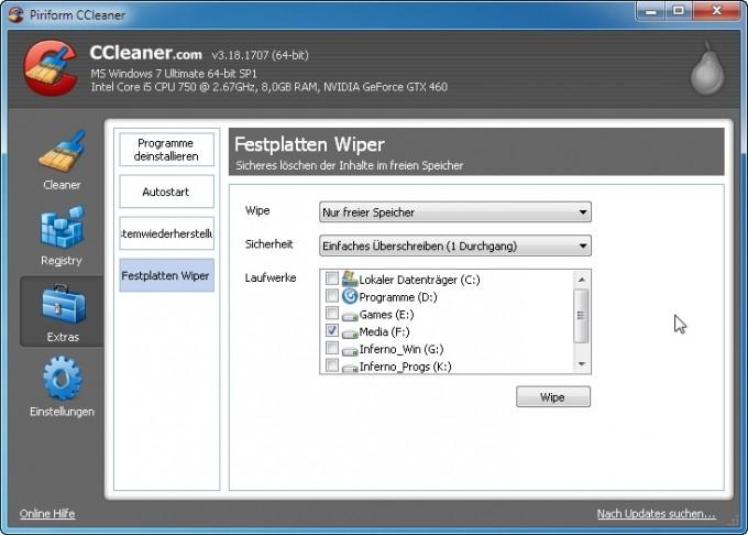 Festplatten Wiper - Mit CCleaner  Dateien sicher löschen