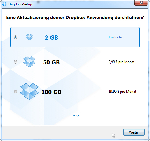 Dropbox 2GB kostenlos