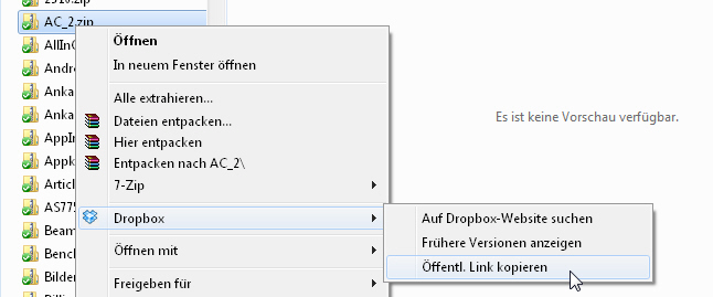 Dropbox - öffentlichen Link zu einer Datei erhalten