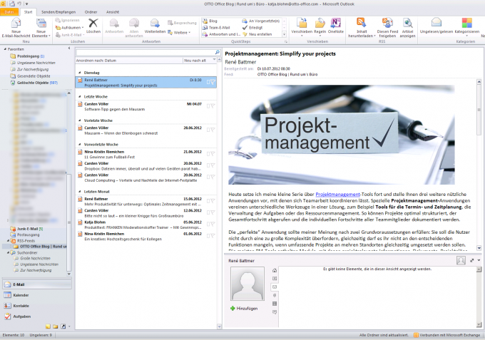 RSS Feed im E-Mail-Programm Microsoft Outlook