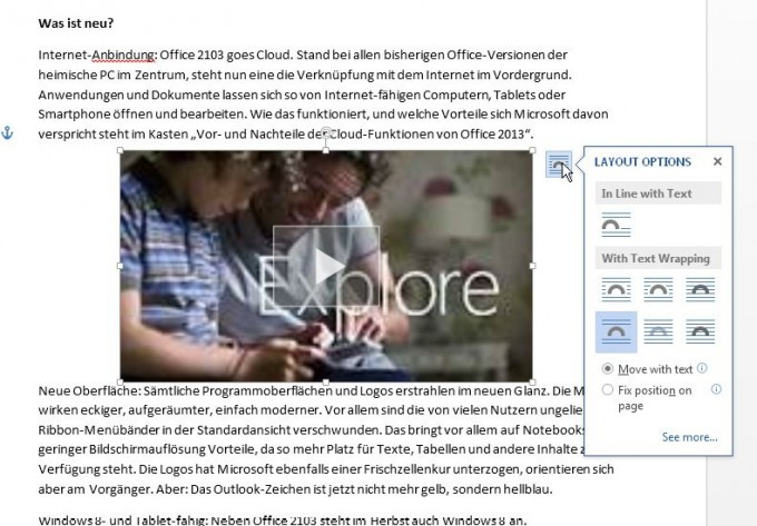 Videos aus dem Internet in Word 2013
