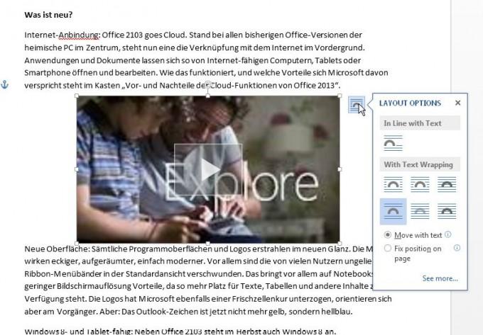 Videos aus dem Internet in Word 2013