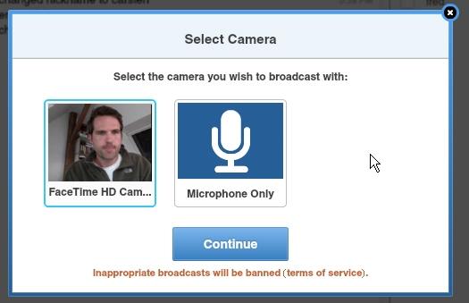 Tinychat Mikrofon-Modus für Videokonferenz
