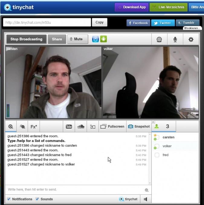 Tinychat - Beenden der Videokonferenz