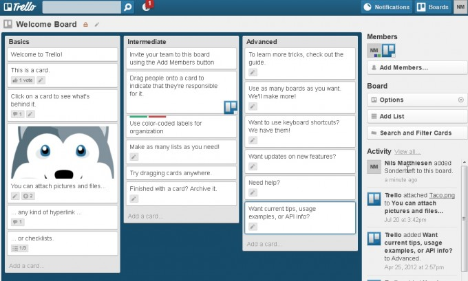 Trello Projektmanagement - Dashboard