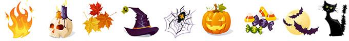 Typische Halloween Symbole