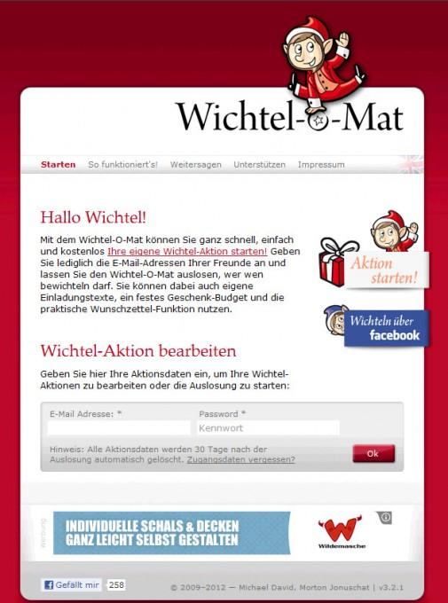 Wichtel-o-Mat – Startseite