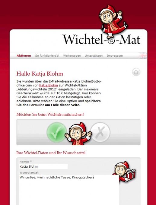 Wichtel-o-Mat – Wunschzettel anlegen