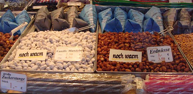 Gebrannte Vanillemandeln und Erdnüsse