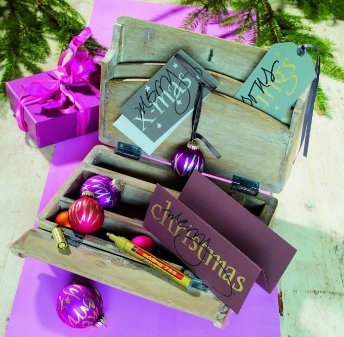 Kalligrafie auf Weihnachtskarten