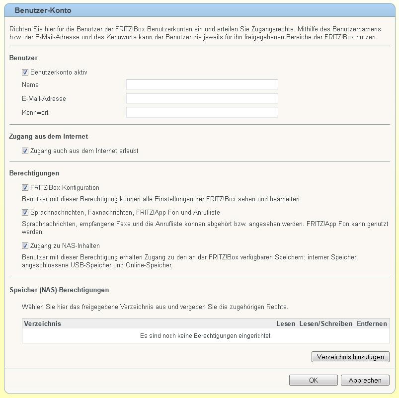 Benutzer für FritzBox Cloud einrichten