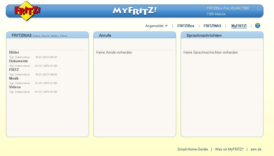 Mit Benutzernamen und Passwort an FritzBox Cloud anmelden
