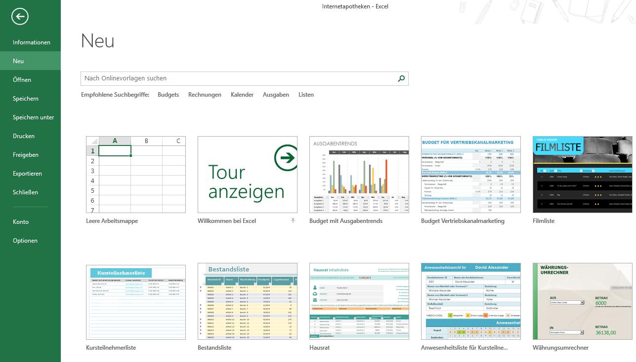 Excel 2013 Vorlagen