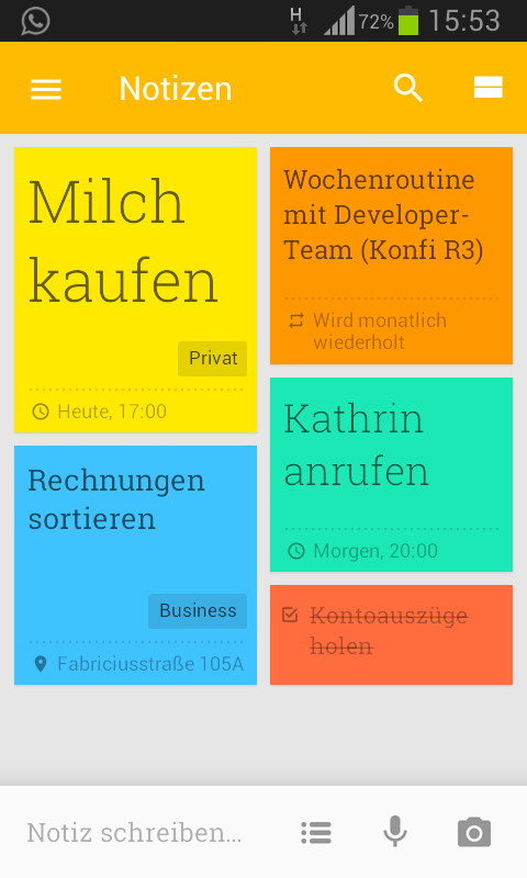 Screenshot Google Keep