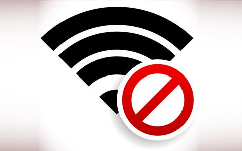 WLAN-Symbol durchgestrichen als Symbole für eine online Diaet