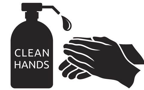 Schwarz-Weiß Illustration eines Seifenspender mit einem Tropfen Seife, der auf zwei Hände fällt.