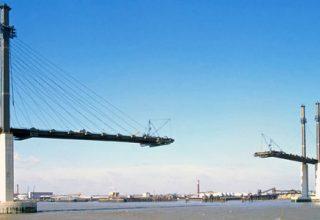 Eine große Brücke im Bau in einer Hafenstadt vor blauem Horizont, welche einen Brückentag symbolisieren soll.