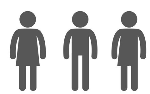 Das dritte Geschlecht verändert die Sprache im Arbeitsalltag / auf dem Foto: Drei Icons, auch als WC-Männchen bekannt, die drei Geschlechter symbolisieren. Weiblich, männlich und divers.