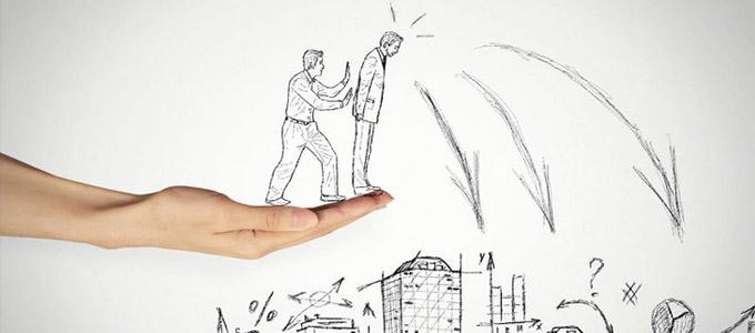 Man sieht zwei gezeichnete Männer auf einer Hand und einer will den anderen in die Tiefe schubsen