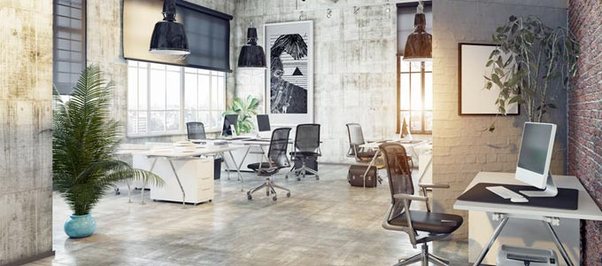 Man sieht ein modernes Großraumbüro
