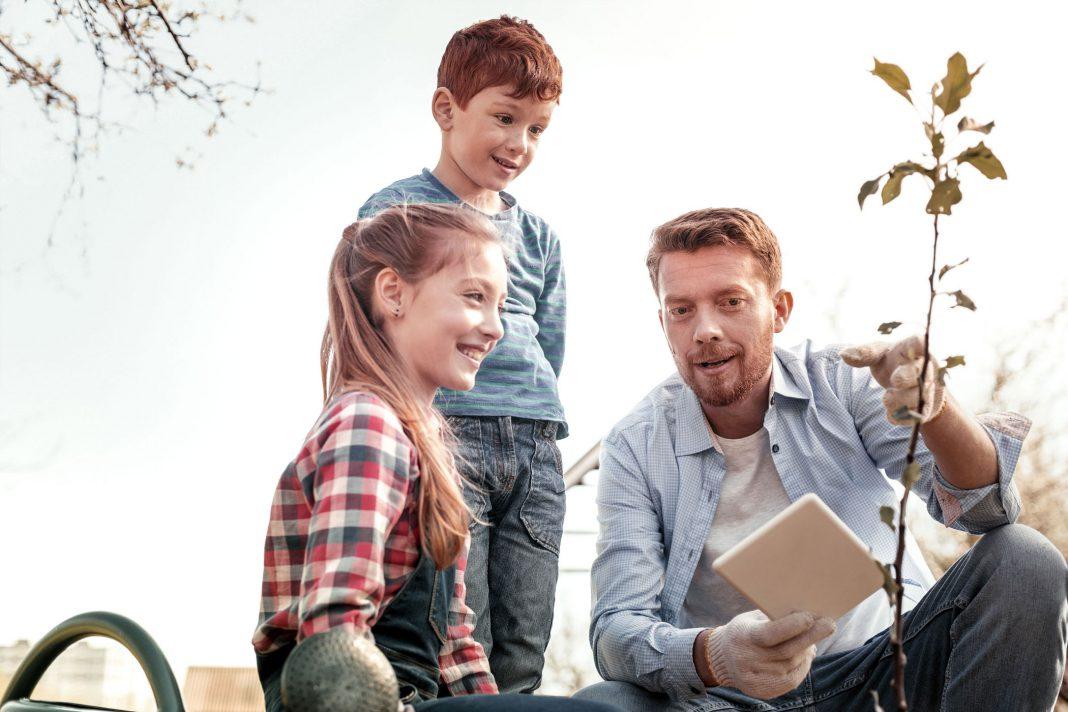 Vater erklärt Kindern wie eine Pflanze wächst
