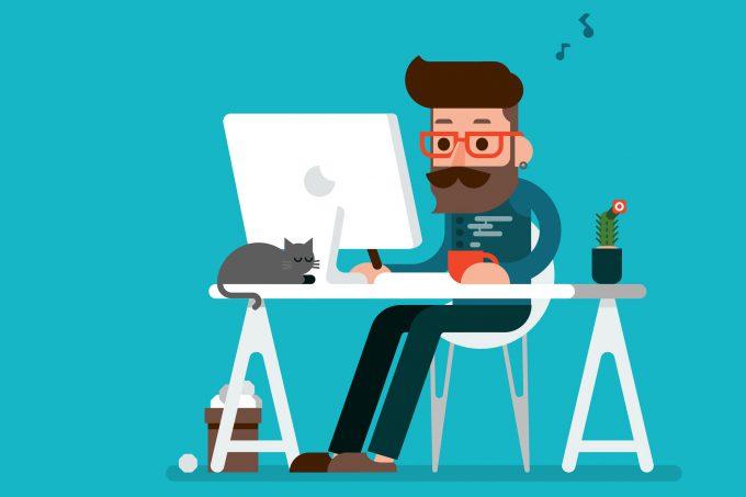 Glücklicher Mann arbeitet am Computer Cartoon-Zeichnung