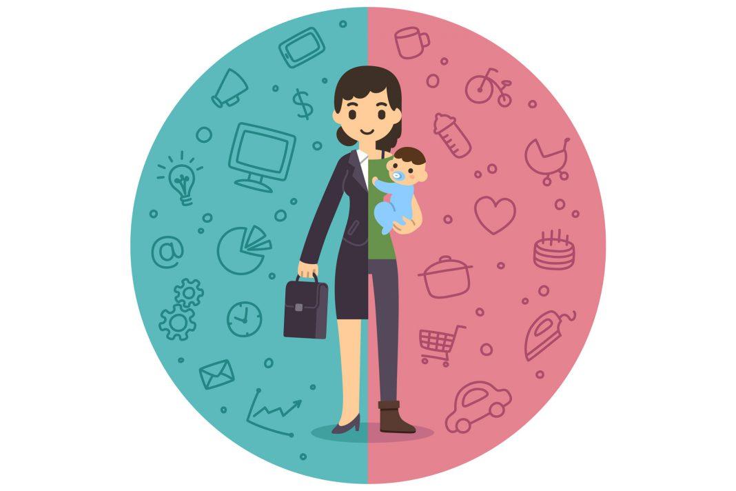 Cartoonzeichnung von einer Frau, die ein Baby und die Arbeit gleichzeitig managed