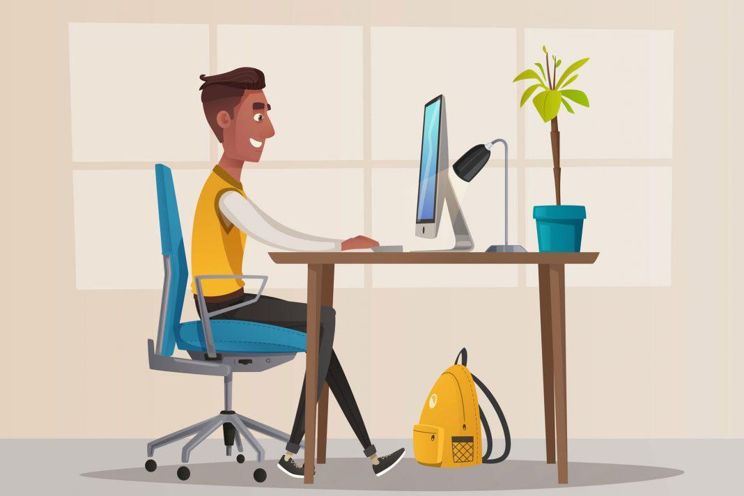 Arbeiten im Homeoffice, dargestellt als Cartoon