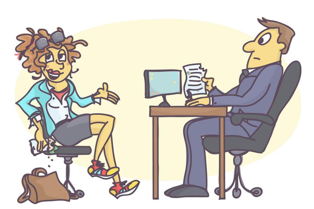 Zwei Personen bei einem Vorstellungsgespräch, dargestellt als Cartoon