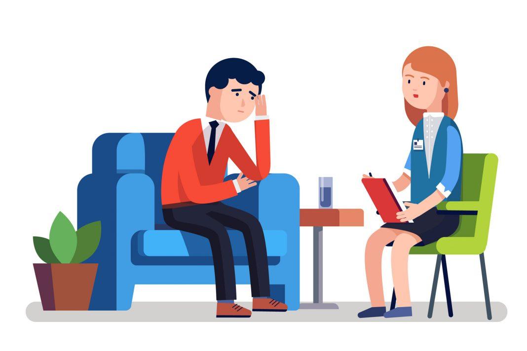 Eine Person beim Psychologen, dargestellt als Cartoon
